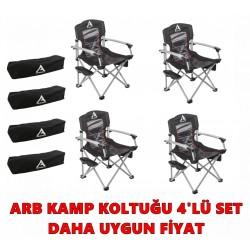 ARB Kamp Sandalyesi 4'lü Paket Set - Siyah